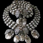 Miriam Haskell Gorgeous Vintage Pearls & Rhinestones Parure Necklace Bracelet Earrings