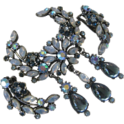 FLORENZA Stunning Opal Glass Large Pin Brooch & Earrings
