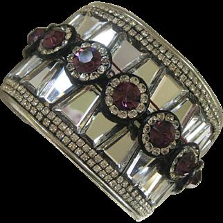 Stunning Large Mirror Glass Stones & Rhinestones Cuff Bracelet