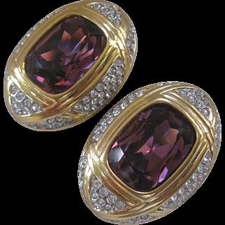 Swarovski Purple Glass & Rhinestones Beautiful Vintage Earrings