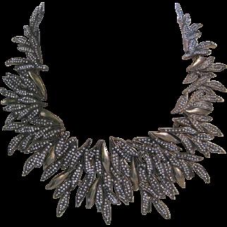 OSCAR DE LA RENTA Fabulous Huge Rhinestones & Gold Tone Bib Necklace