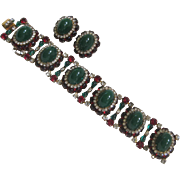 HATTIE CARNEGIE Heavy Green & Red Glass Vintage Bracelet & Earrings Set