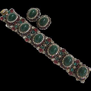 HATTIE CARNEGIE Heavy Green & Red Glass Vintage Bracelet & Earrings Set