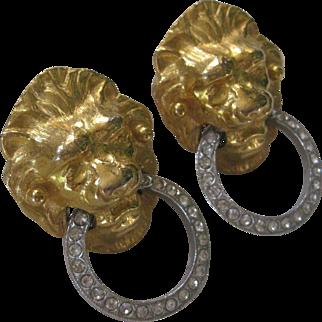 KENNETH LANE Lion Head Rhinestone Hoop Vintage Earrings