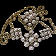 CRAFT Pearls & Rhinestones Enamel Parure Vintage Set