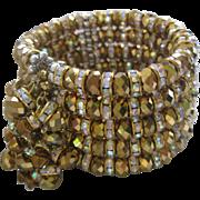 Beautiful Bronze Glass & Rhinestones Large Designer Cuff Bracelet