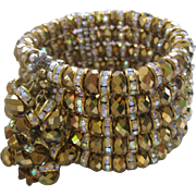 Beautiful Bronze Glass & Rhinestones Large Designer Cuff Bracelet