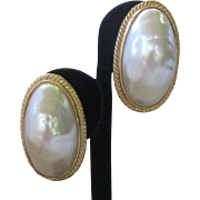 GIVENCHY Large Oval Baroque Style Pearl Earrings