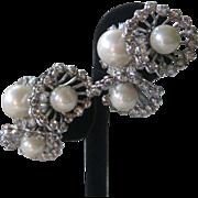 Rhinestones & Pearls Flower Cluster French Earrings
