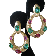 TRIFARI Stunning Jewels Of India Marbled Glass Stones Vintage Earrings