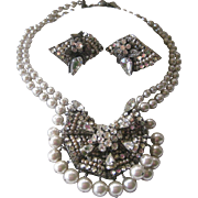 Original By Robert Gorgeous Layered Rhinestones & Pearls Large Necklace & Earrings Set