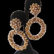 Dangling Rhinestone Hoops Vintage Earrings