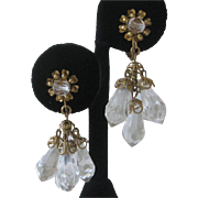 MIRIAM HASKELL Dangling Crystal Clear Drops Vintage Earrings