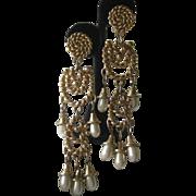"Vintage Designer 5"" Dangling Pearls Shoulder Duster Earrings"