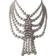 Heavy Glass Pearls & Huge Rhinestone Cluster Billowing Vintage French Bib Necklace