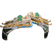 KJL Enamel & Rhinestone Double Headed Dragon Cuff Bracelet