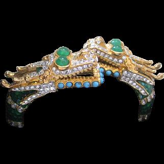 KJL Enamel & Rhinestone Double Headed Dragon Cuff Bracelet