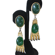 GOLDETTE Beautiful Green Stones & Goldtone Drop Vintage Earrings
