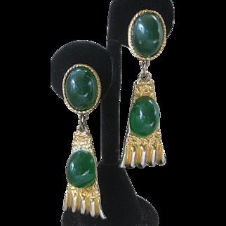 GOLDETTE Beautiful Green Stones & Goldtone Drop Vintage Earrings
