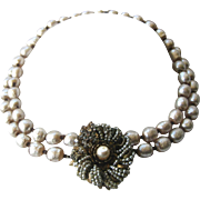 MIRIAM HASKELL 2 Strands Baroque Pearls & Rhinestones Vintage Necklace