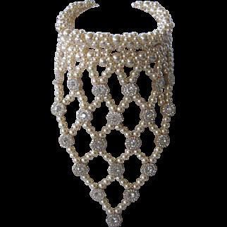 COURREGES Paris France Pearls & Sparkling Rhinestones 1980s Runway Vintage Necklace