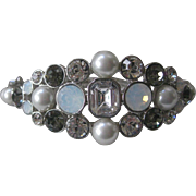 GIVENCHY Beautiful Glass Clear & Smoke & Pearls Cuff Bracelet
