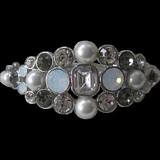 GIVENCHY Beautiful Glass Clear & Smoke & Pearls Cuff Bracelet