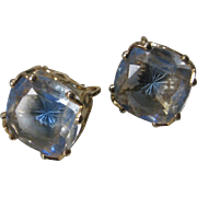 EMMONS Blue Star Glass Beautiful Vintage Earrings