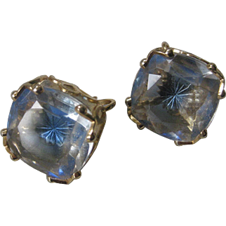 EMMONS Blue Star Glass Beautiful Vintage Earrings