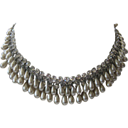 Stunning Dangling Glass Teardrop Pearls & Rhinestones Multi Row Necklace