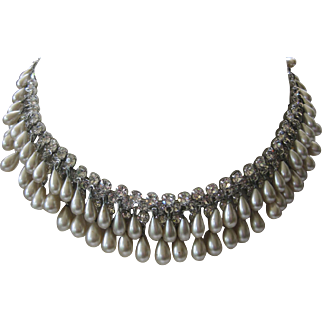 Stunning Dangling Glass Teardrop Pearls & Rhinestones Multi Row Necklace