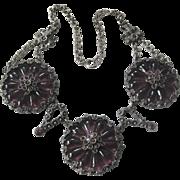 CZECH Vintage Molded Glass & Rhinestones Vintage Necklace