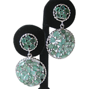 Genuine Columbian Emeralds In 925 Sterling Silver Flower Earrings