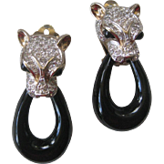 PANETTA Rhinestones & Enamel Panther Vintage Earrings