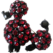 Unsigned Schreiner Deep Red & Jet Black Rhinestones japanned Poodle Vintage Brooch Pin