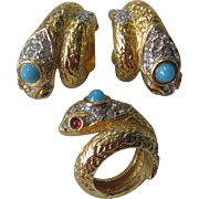 K.J.L. Rhinestones & Glass Early Signature Rare Snake Ring & Earrings Set