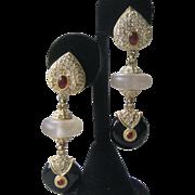 Roxanne Assoulin Rhinestones & Glass Dangling Shoulder Duster Vintage Earrings