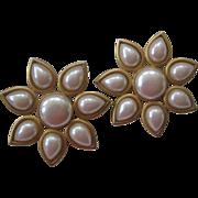 M.W.S Signed Large Faux Flower Vintage Earrings