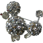 Unsigned Schreiner Rhinestones Covered Poodle Vintage Brooch Pin