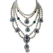 COURREGES Paris, Theatrical Emerald Green & Faux Pearl French Runway Necklace