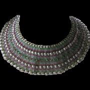 MIRIAM HASKELL Signed Baroque Pearls & Crystals Huge Heavy Bib Vintage Necklace