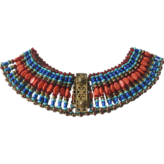 MIRIAM HASKELL Rare Early Egyptian Large Bib Necklace Signed