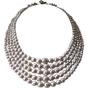 MIRIAM HASKELL Early 5 Strand Baroque Pearls Bib Necklace