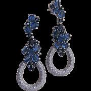 Genuine Blue Sapphires 925 Sterling Silver Large Earrings