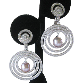Blush Real Pearls & Brilliant Czs Hanging Rings Sterling Silver Earrings