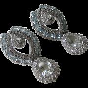 Genuine Blue Topaz & Large Green Amethyst 925 Sterling Silver Earrings