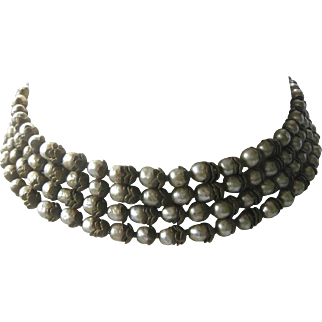 Miriam Haskell Early 4 Strand Baroque Pearls & Brass Bib Necklace