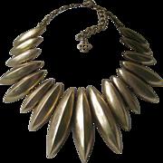 OSCAR DE LA RENTA Stunning Gold Tone Spikes Large Bib Necklace