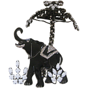 VRBA Large Enamel Rhinestones & Glass Lucky Elephant Brooch Pin