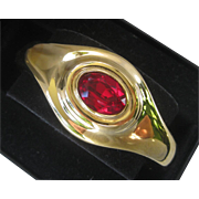 GIVENCHY Red Oval Glass Stone & Gold Tone Vintage Cuff Bracelet